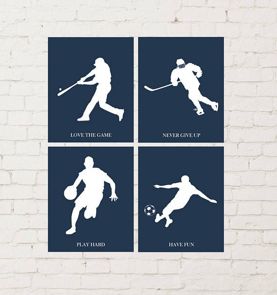 Ice hockey wall art soccer boy male soccer boys room art