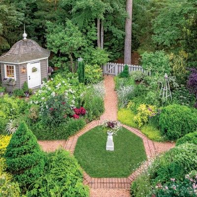 Virginia English Cottage Garden - Fences, paths, and focal points lend year-round structure to the plantings.