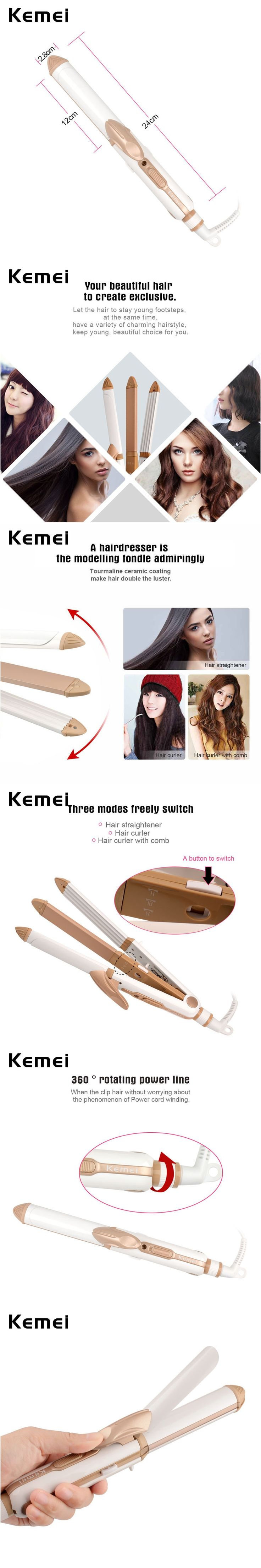 Kemei 3 in 1 Electric Fast Hair Straightener Curler Constant Temperature Corn Plate Flat Iron Clip Profesional brosse lissante