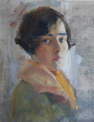 Ryskättade Lola Butovitsch (1900-1971) föddes i Warszawa och gick på Konstakademin i Stockholm.Tack Helena som kunde bekräfta att det är ett självporträtt av mostern. Gissningsvis från studietiden (1925-29) eller strax efter. Målade många beställningsporträtt med sin lätta och eleganta penselföring.