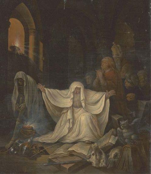 Govert Flinck - Gotisch interieur met een dodenbezweerder