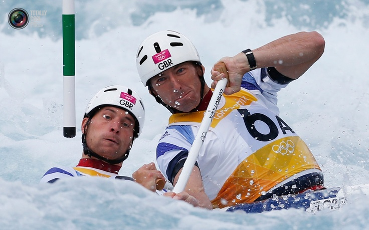 Britain's David Florence and Richard Hounslow compete in the men's canoe double (C2) semi-final at Lee Valley White Water Centre during the London 2012 Olympic Games . SUZANNE PLUNKETT/REUTERS