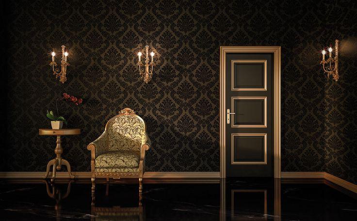 FBP porte | Mod. Lady 3U - laccato nero #porte #legno #interno #wooden #door #madeinitaly #baroccostyle