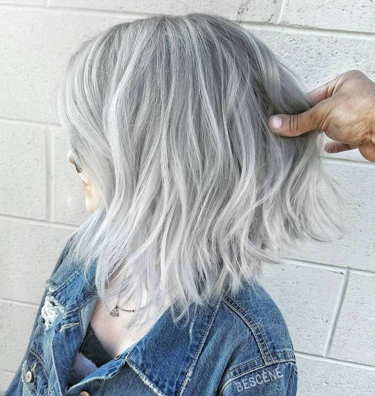Choppy Gray Balayage Bob