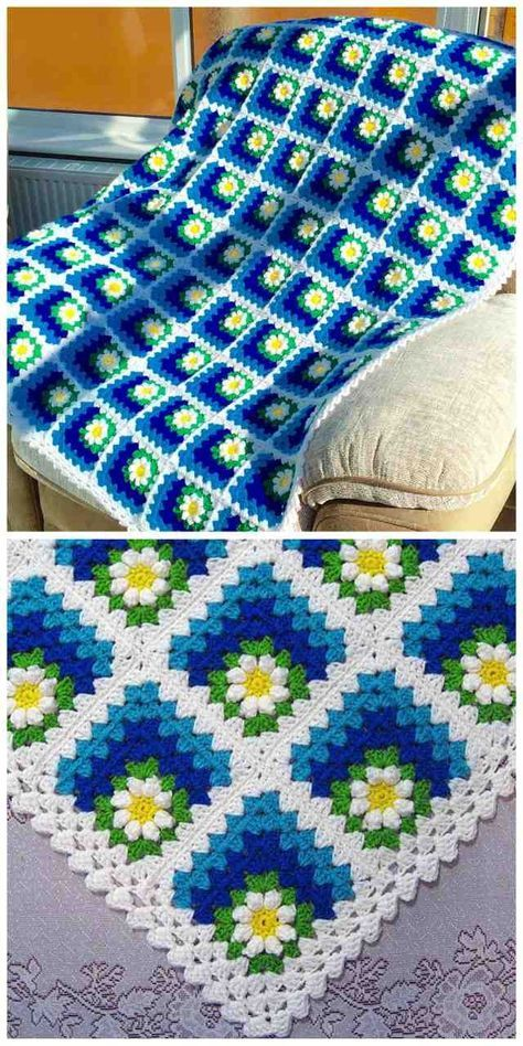 Spectacular daisies in the corner of granny square - Mitered Daisy Granny Squares Blanket or Afghan [Free Crochet Pattern