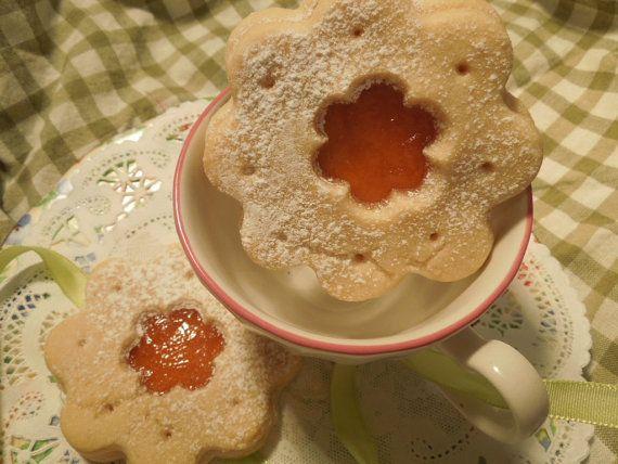 Butter Sugar Cookie with Apricot Jam 1 dozen by LittleNevasBakery