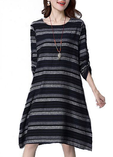 Stripe Print Pocket Design Long Sleeve Dress  on sale only US$28.74 now, buy cheap Stripe Print Pocket Design Long Sleeve Dress  at lulugal.com