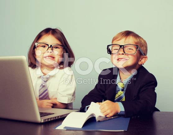 Business Children at Laptop in Office royalty-free stock photo