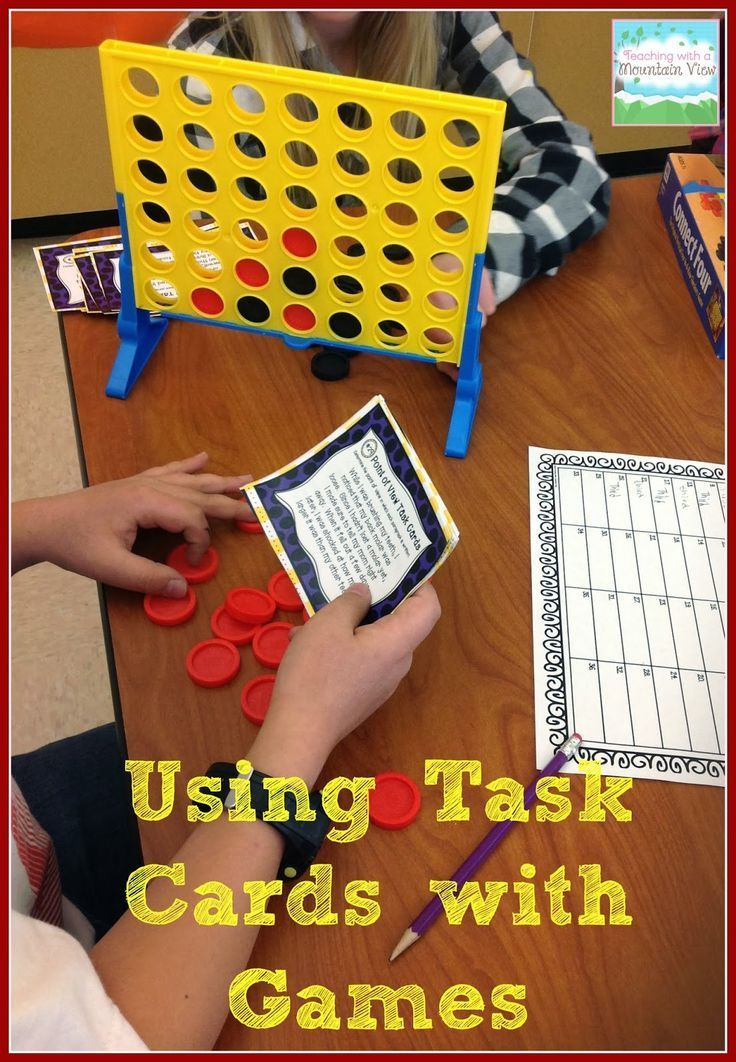 Using Board Games to Engage Students with Task Cards! To take their turn, students must correctly answer a question on a task card.