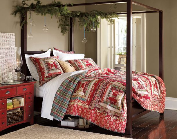 Pottery Barn Christmas inspired Bedrooms.