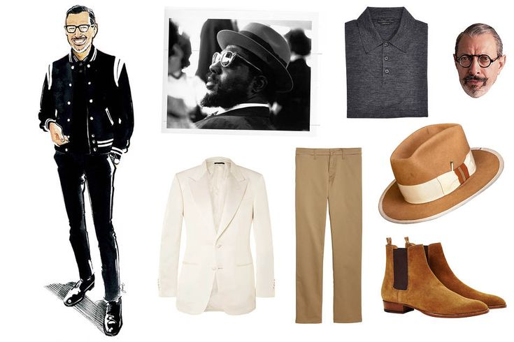 Clockwise from left: Jeff Goldblum, Thelonious Monk, Prada polo, Freudian specs, Nick Fouquet hat, Saint Laurent boots, Carhartt Work in Progress pants, Tom Ford jacket Jeff Goldblum's Advice on Dressing Right - WSJ