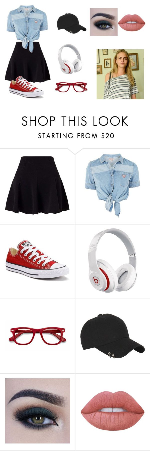 """""""5"""" by jojochan28 on Polyvore featuring moda, Miss Selfridge, Topshop, Converse, Beats by Dr. Dre, EyeBuyDirect.com, Burberry, Too Faced Cosmetics y Lime Crime"""
