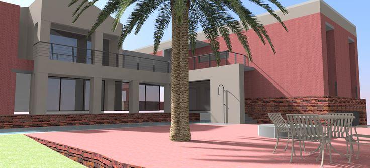 Sketchup model rendering. New outdoor shower proposal.