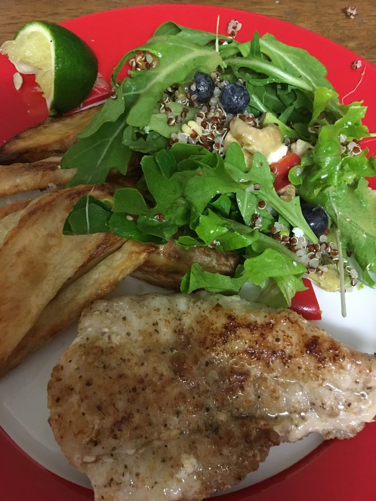 Red Emperor Fish with Rocket Blueberry Salad