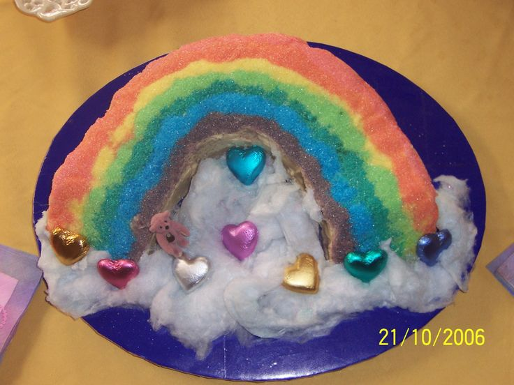 Rainbow cake - had to colour sugar (stick sugar in a bag with food colouring and shake) then pour in lines. With my shaky hands there was no chance that the lines would be straight! The clouds are fairy floss.