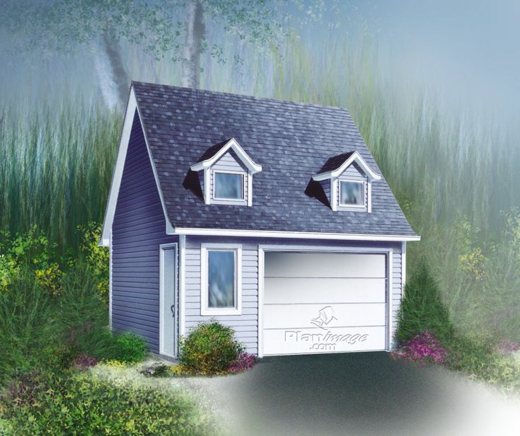 Ce garage à l'architecture stylisée comprend une porte de garage et une fenêtre à l'avant et une porte d'entrée du côté gauche. Deux jolies fausses fenêtres à pignon complètent le tout.