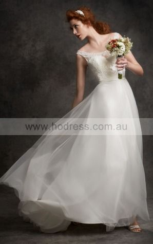 Buttons Court Train A-line Natural Scoop Wedding Dresses hecf1001--Hodress
