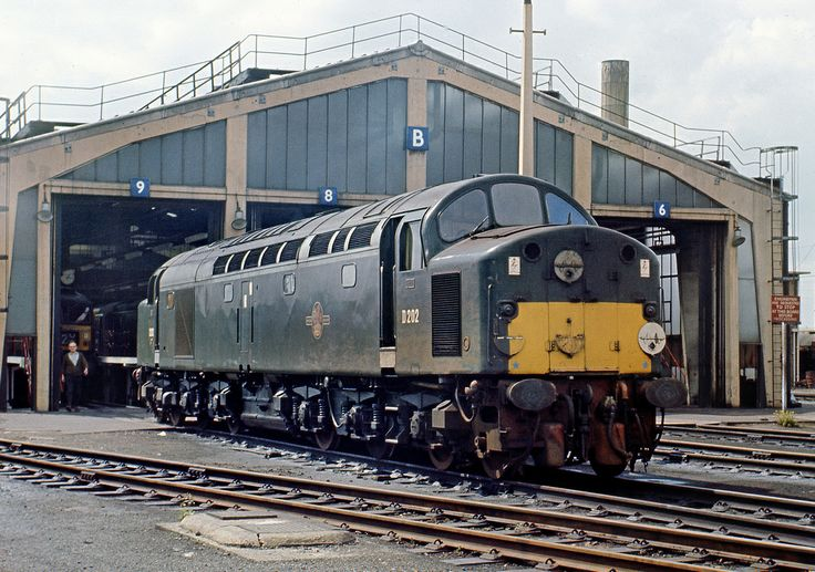 D202 at Stratford Depot in April 1967. Built at the English Electric Vulcan Foundry and delivered new on 30th April 1958. Renumbered 40002 on 31st Dec 1973. Withdrawn on 23rd May 1984 and cut up at Doncaster Works on 13th April 1985.