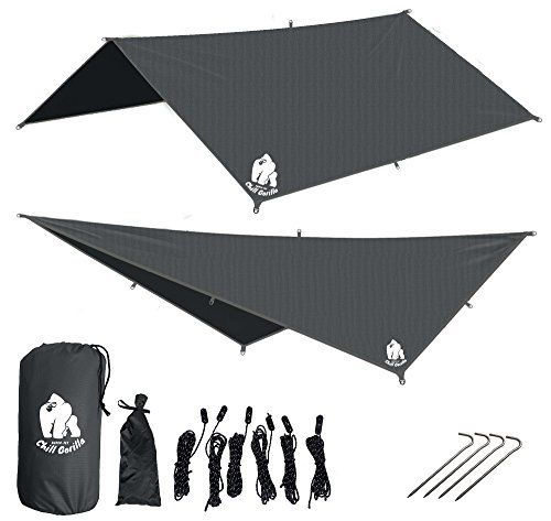CHILL GORILLA 10' HAMMOCK RAIN FLY TENT TARP Waterproof Camping Shelter. RIPSTOP NYLON & Not Cheap Polyester. Essential Survival Gear. Stakes Included. Lightweight. Quality. Easy to setup. GREY