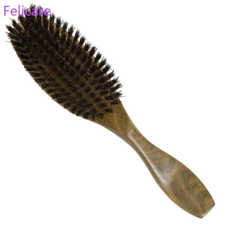 Natural Wild Boar Bristles Hair Brush Green Sandalwood Handle Brosse Cheveux Sanglier Hair Care