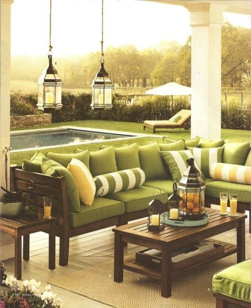 cute right?: Outdoor Seats, Outdoor Living, Patio Furniture, Patio Sets, Back Porches, Hanging Lanterns, Outdoor Spaces, Outdoor Deco, Pottery Barns