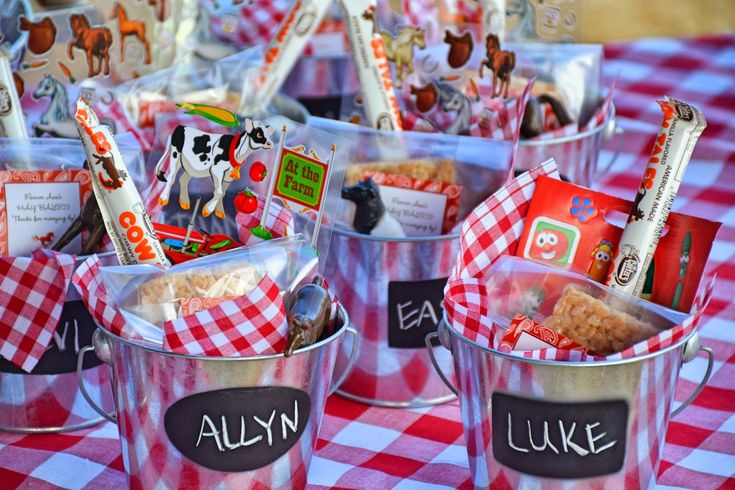 Farm theme birthday party favors - chalkboard pail filled with farm stickers…