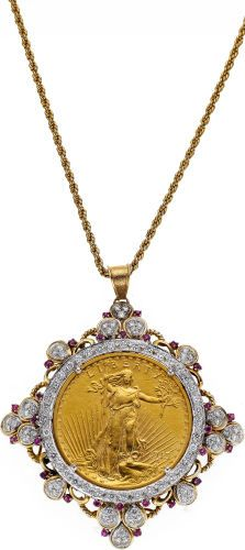 Gold Coin, Diamond, Ruby, Gold Pendant-Necklace. The coin is dated 1913.