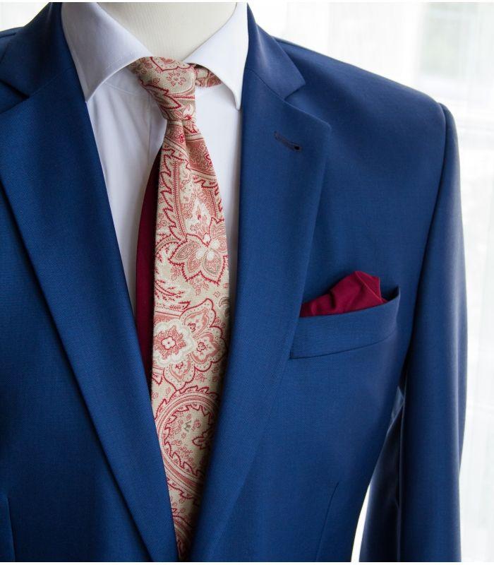 Beige paisley twin necktie