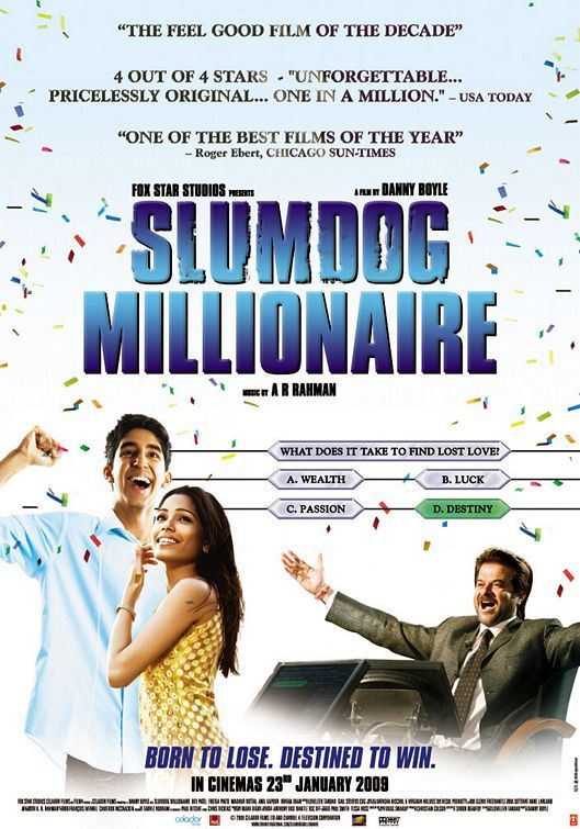 Slumdog Millionaire (2008) I think this was good because it mainstreamed bollywood to the American public. The song and dance scene at the end is what makes it memorable.