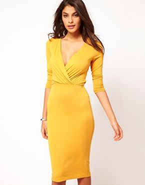 Pencil Dress With Wrap Front