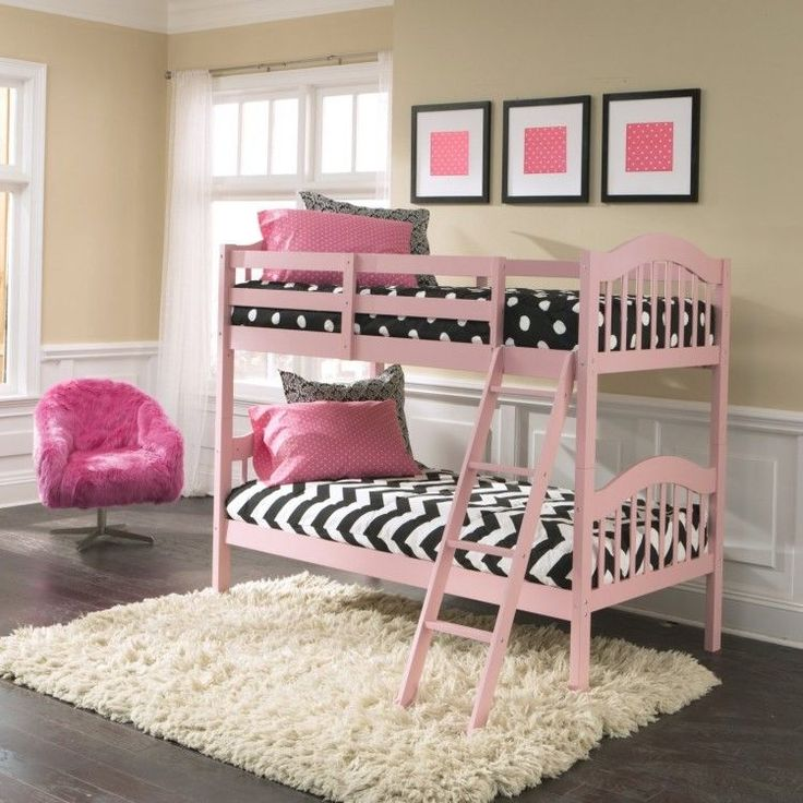 pink twin bunk beds over twin kids wooden frame ladder kit girl bedroom