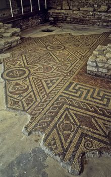 The mosaic floor at North Leigh Roman Villa