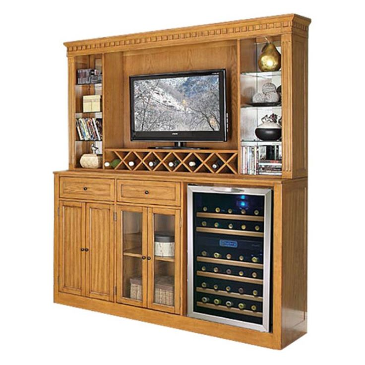 Manchester Home Bar with Optional Hutch - Burnished Oak - ECI195