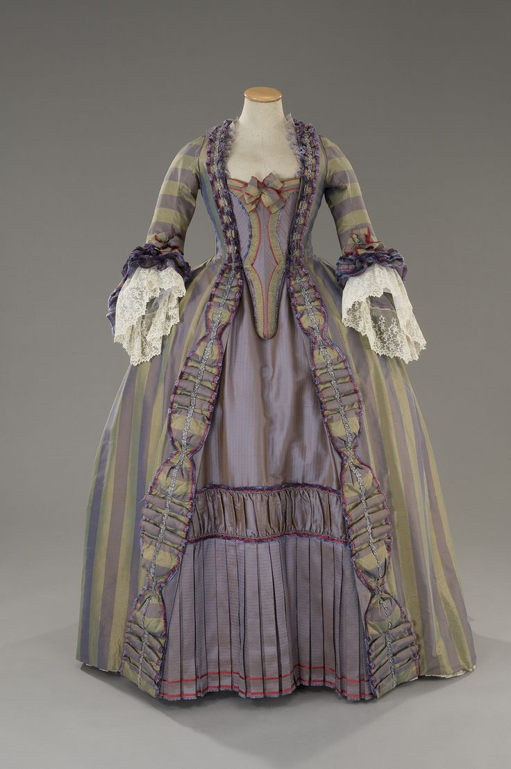 Tirelli Costumi, robe à la française, lilac taffeta, and sage shantung, ruffled and pleated, designed by Alessandro Lai, for Rosa and Cornelia, Italian drama film directed by Giorgio Treves, 2000