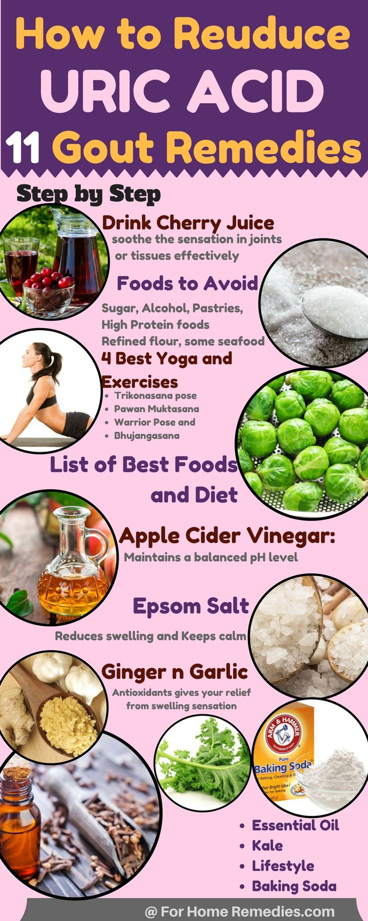 Reduce My Uric Acid Levels: Best diet and foods for gout home remedies: Learn how to reduce your uric acid levels and get rid of gout. Cherry Juice, Yoga, Lifestyle, Ginger Garlic and Baking soda, essential oil, apple cider vinegar and kale health benefit http://www.wartalooza.com/treatments/nail-polish