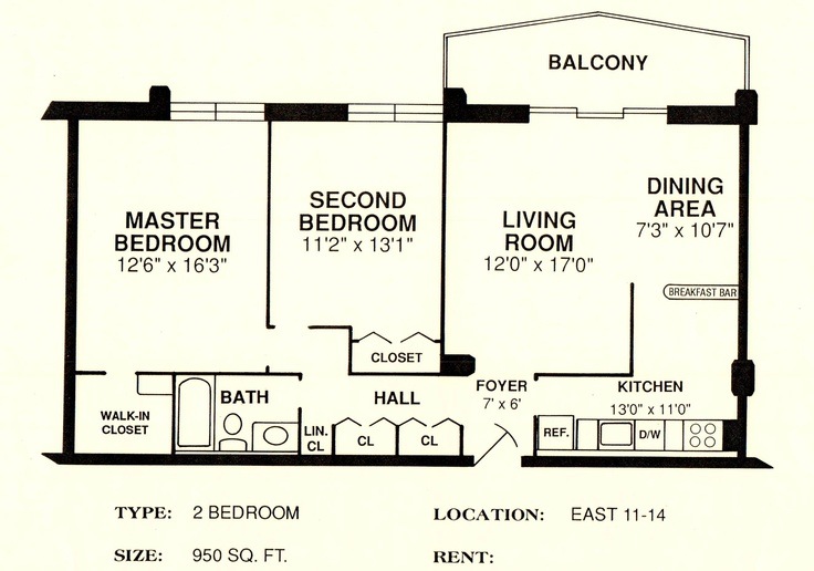 East 11 14 950 sq ft 2 bedroom floorplans pinterest for 950 sq ft