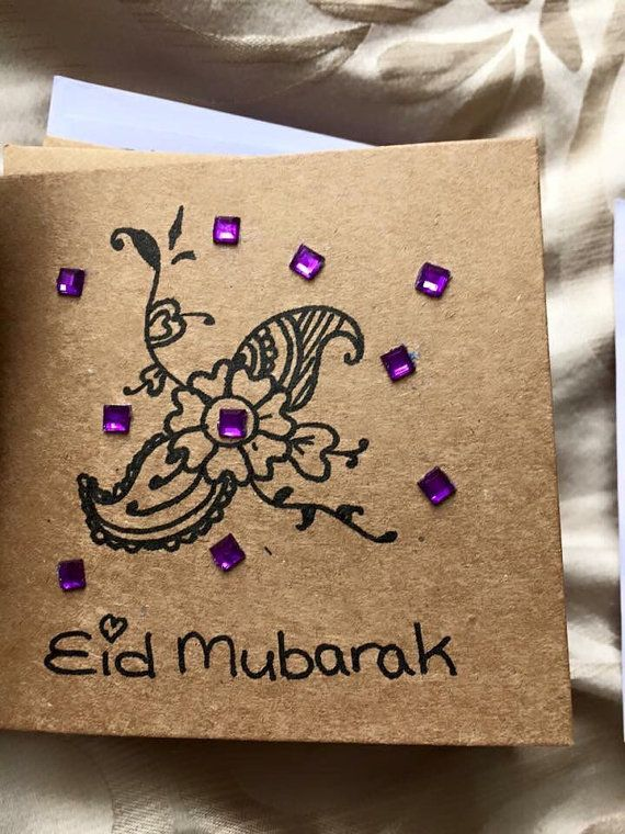 Eid mubarak greeting cards with sequins and asian motif pasley