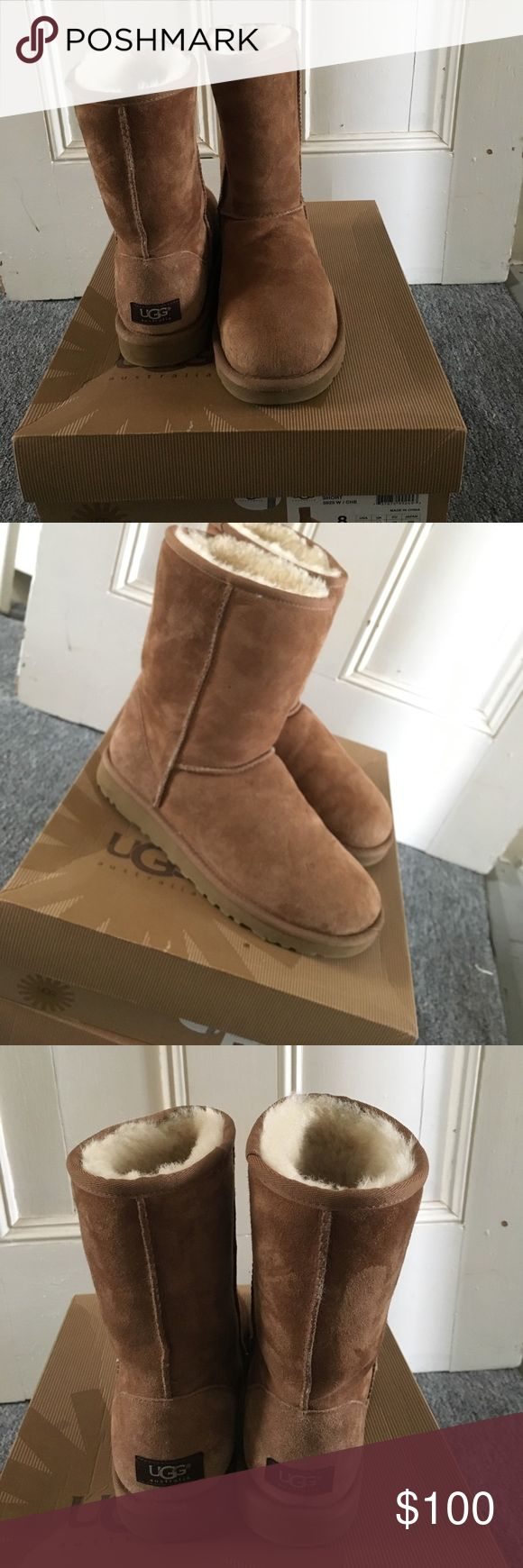 Chestnut Short Uggs In great condition worn once. Just small creases that can be fixed. Inside fur is in great condition as well. Comes with the original box. UGG Shoes Winter & Rain Boots