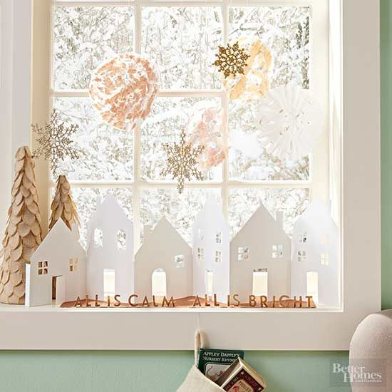 Delight visitors with a charming cardstock village you can customize to fit the space you're decorating.