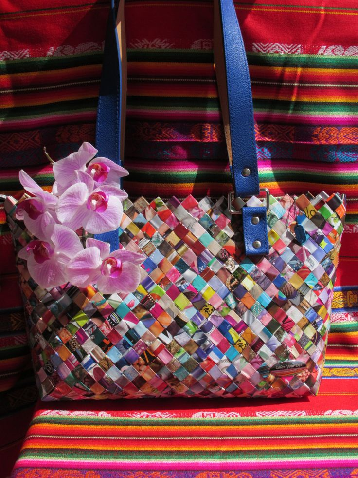 JACQUELINE Handmade Large Magazines Recycled Materials ECO bag Nahui Ollin type candy wrapper model origami H 9.45 L 15.45 W 3.93 by ColorYourLifebyM on Etsy