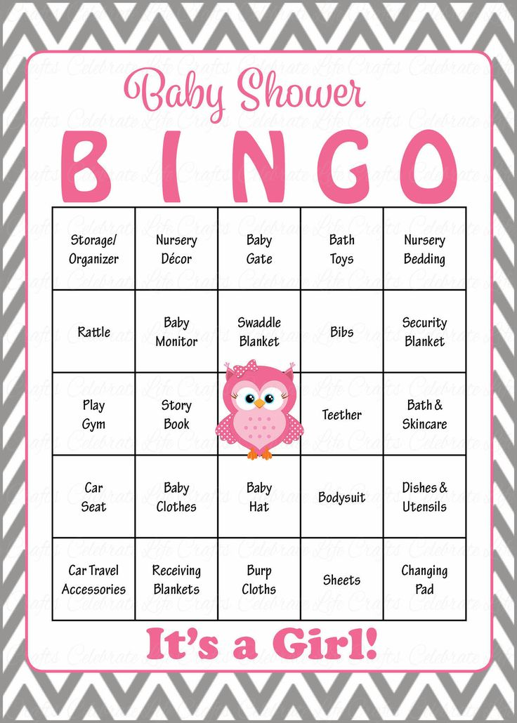 Owl Baby Bingo Cards   Printable Download   Prefilled   Baby Shower Game  For Girl