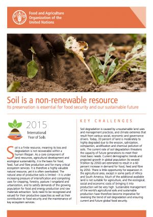 Soil is a non-renewable resource: It is estimated that today, 33% of land is moderately to highly degraded due to the erosion, salinization, compaction, acidification and chemical pollution of soils.