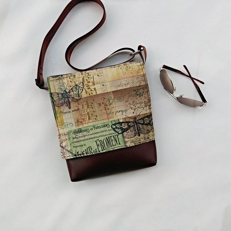 Tim Holtz Eclectic Elements fabric feature fabric flap on vegan brown faux leather  messenger cross body crossbody shoulder bag by CaptureHandmadeBags on Etsy