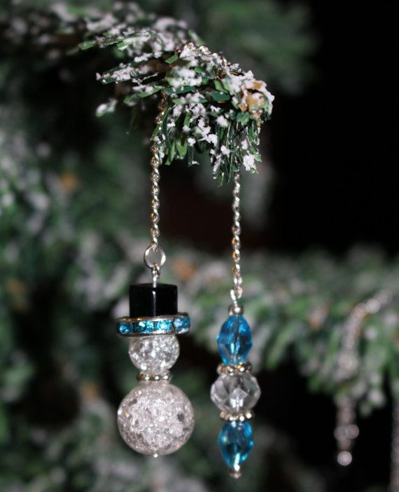 Snowman Glass Beaded Icicle Ornaments By Twocraftygalpals