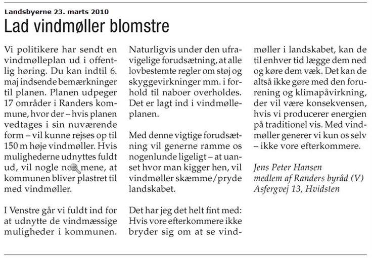 Velfærdslisten stiller ændringsforslag om at droppe Binderup projektet, og i stedet iværksætte en ny demokratisk og strategisk planlægning på energiområdet. Der henvises til, at borgerne ved vedtagelse af vindmølleplan ikke anede , hvad der var på vej. Kasper Fuhr var udvalgsformand for Miljø- og teknik i 2010 - hvad gjorde han for at engagere borgerne? Jeg skrev dette indlæg, der også blev bragt i Amtsavisen.