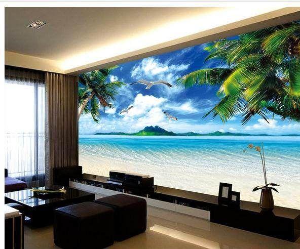 Customize wallpaper papel de parede Seaside scenery Hawaii Beach TV backdrop 3d wallpaper Free shipping5196