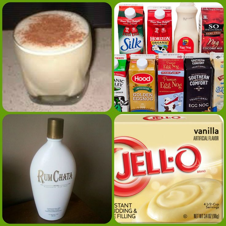 Rumchata Eggnog Pudding Shots 1 small Pkg. vanilla instant pudding ¾ Cup Eggnog 3/4 Cup RumChata 8oz tub Cool Whip nutmeg for garnish if desired Directions 1. Whisk together the milk, liquor, and instant pudding mix in a bowl until combined. 2. Add cool whip a little at a time with whisk. 3.Spoon the pudding mixture into shot glasses, disposable shot cups or 1 or 2 ounce cups with lids. Place in freezer for at least 2 hours