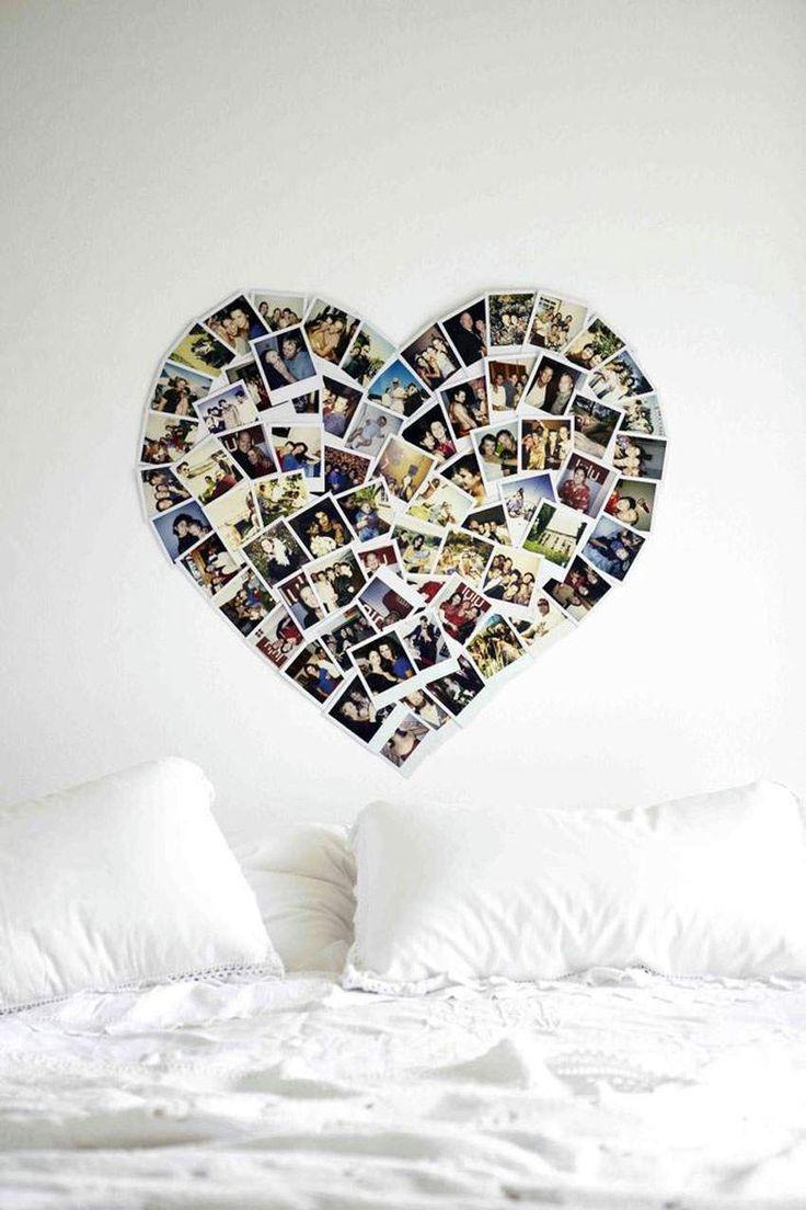 pêle mêle photos en forme de cœur comme déco murale dans la chambre à coucher Plus
