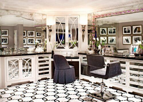 Jeff Andrews Design Kris Jenner bathroom. I like the floors and cupboards