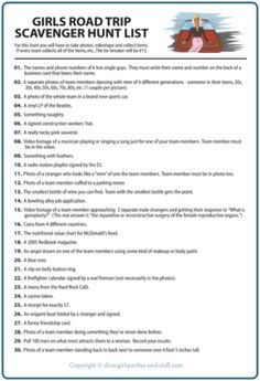 ADAPT FOR A WESTERNERS HUNT IN TAIWAN!.List of 30 scavenger hunt challenges for a girls road trip.